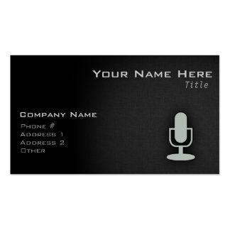 Ash Gray Microphone Business Card Templates