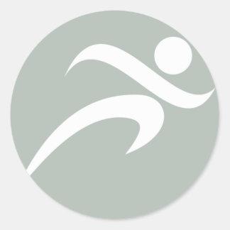 Ash Gray Running Classic Round Sticker