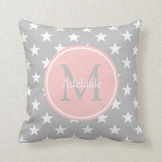 Ash Grey and Baby Pink Stars Monogram Cushion