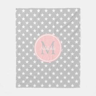 Ash Grey and Baby Pink Stars Monogram Fleece Blanket