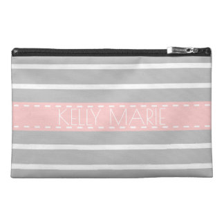 Ash Grey and Baby Pink Stripe Personalized Travel Accessories Bag