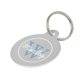 Ash Grey and Carolina Blue Monogram Pet Name Tag