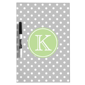 Ash Grey and White Polka Dots with Mint Green Dry Erase Board