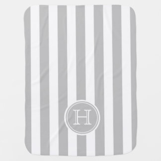 Ash Grey and White Stripe Monogram Receiving Blanket