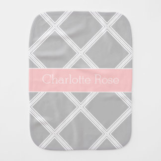 Ash Grey Baby Pink Lattice Stripe Reversible Burp Cloth