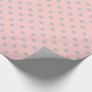 Ash Grey Polka Dot Circles on Baby Pink Wrapping Paper