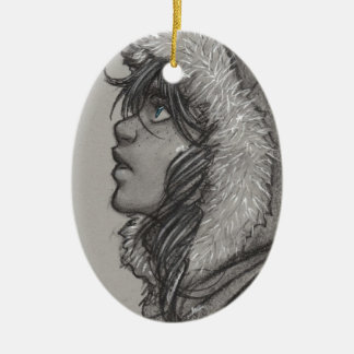 Ash & Snow - Girl in Fur Hood Christmas Tree Ornaments