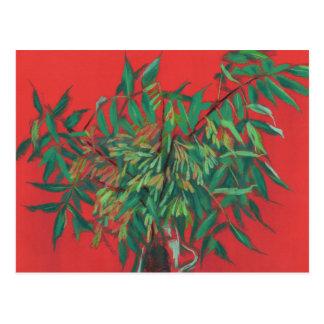 Ash-tree, floral art, red & green summer greenery postcard