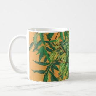 Ash-tree, green yellow summer greenery floral art coffee mug