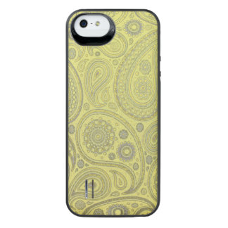 Ash white paisley on yellow background iPhone SE/5/5s battery case