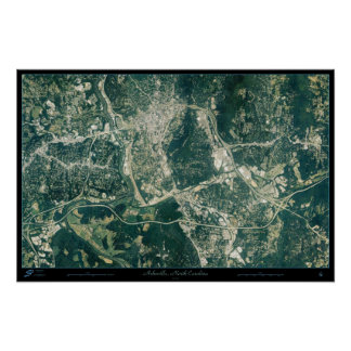Asheville, North Carolina from space satellite pos Poster