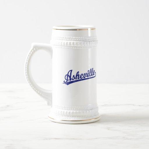 Asheville script logo in blue mug