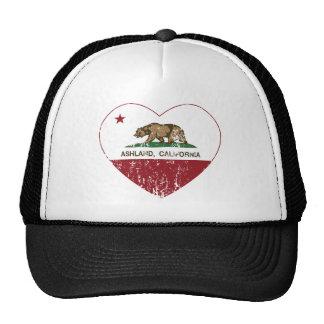 Ashland California Republic Heart Distressed Trucker Hats