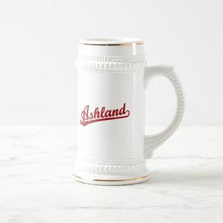 Ashland script logo in red beer steins