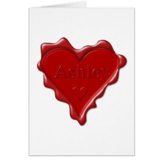 Ashley. Red heart wax seal with name Ashley Card