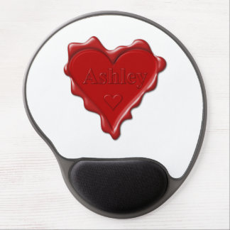 Ashley. Red heart wax seal with name Ashley Gel Mouse Pad