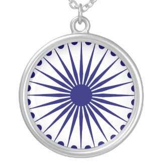 Ashoka Chakra, India flag Silver Plated Necklace