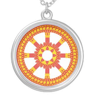 Ashtamangala Symbol Dharmachakra Wheel of Dharma Silver Plated Necklace