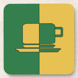 Ashton Dark Green and Gold Cup Beverage Coasters