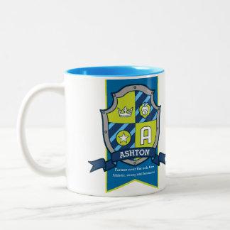 Ashton knight shield red blue name meaning A mug
