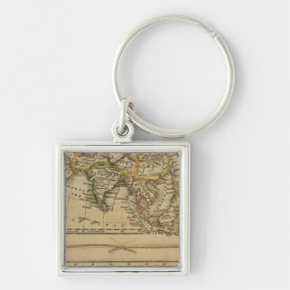 Asia, Africa Silver-Colored Square Key Ring