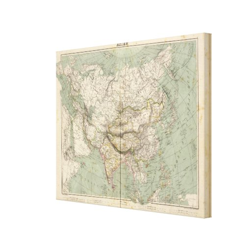 Asia Atlas Map showing political divisions Gallery Wrap Canvas