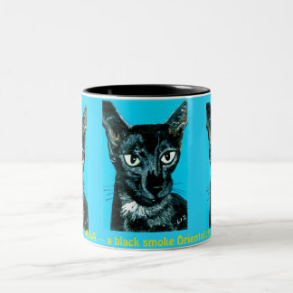 ~Asia ~ black smoke Oriental cat ~ Two-Tone Coffee Mug