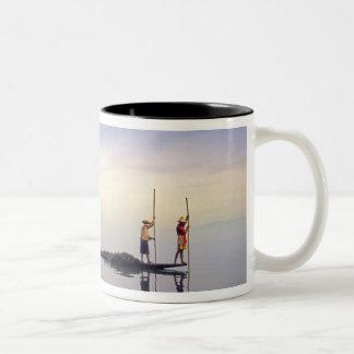 Asia, Burma, (Myanmar) Fishing boat reflected on Two-Tone Coffee Mug