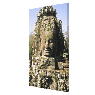 Asia, Cambodia, Siem Reap. Angkor Thom, heads of Stretched Canvas Prints