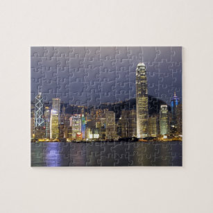 Asia, China, Hong Kong, city skyline and 2 Jigsaw Puzzle