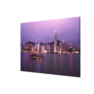 Asia, China, Hong Kong, city skyline and Gallery Wrapped Canvas