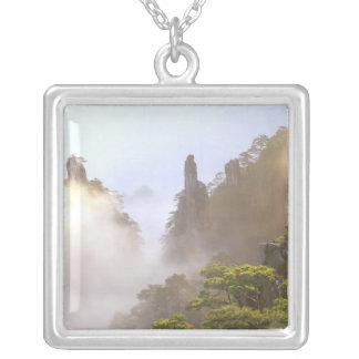 Asia, China, Huanshan. The Yellow Mountain in Square Pendant Necklace