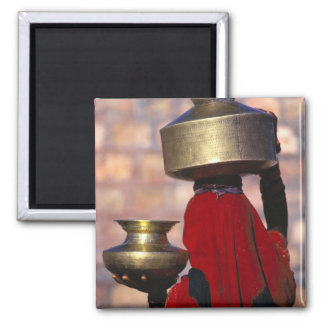 Asia, India, Rajasthan. A local woman in a red Square Magnet