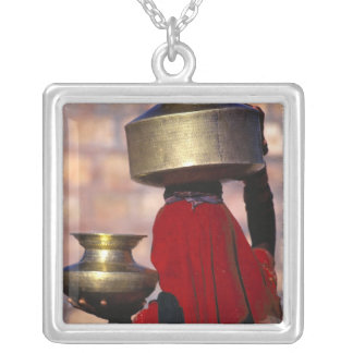 Asia, India, Rajasthan. A local woman in a red Square Pendant Necklace