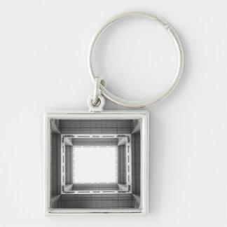 Asia, Japan, Tokyo. Fuji TV Building, looking Silver-Colored Square Key Ring