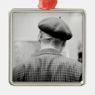 Asia, Japan, Tokyo. Man with Beret, Tokyo Metro Silver-Colored Square Decoration