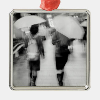 Asia, Japan, Tokyo. Young women and umbrellas. Silver-Colored Square Decoration