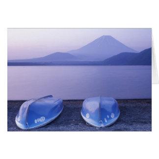 Asia, Japan, Yamanashi, Rowboats on Motosu Lake Card