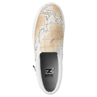 ~Asia~ Khaki Brown Map Slip On Shoes
