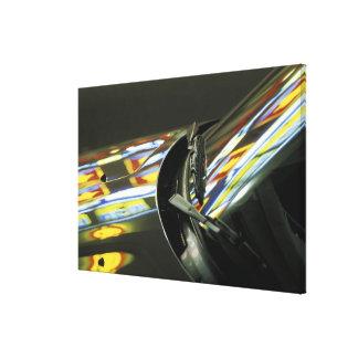 Asia, Malaysia, Melaka. Neon reflections in car Canvas Prints