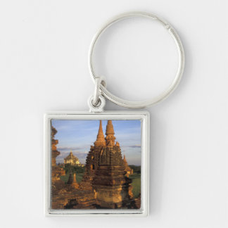 Asia, Myanmar, Bagan. Ancient temples and Silver-Colored Square Key Ring
