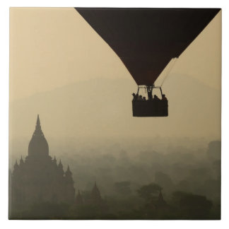 Asia, Myanmar, Bagan, balloon over temples of Ceramic Tile