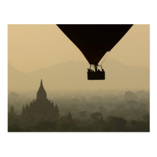 Asia, Myanmar, Bagan, balloon over temples of Postcard