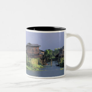 Asia, Myanmar, Inle Lake. A floating village on Two-Tone Coffee Mug