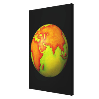 Asia on a Globe Stretched Canvas Prints