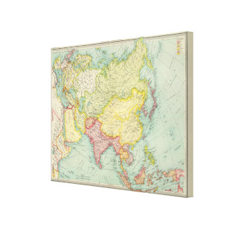 Asia political atlas map stretched canvas print