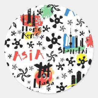 Asia | Symbols Pattern Classic Round Sticker