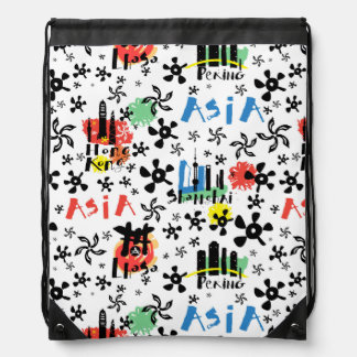 Asia | Symbols Pattern Drawstring Bag