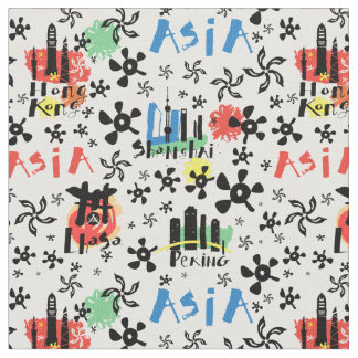 Asia   Symbols Pattern Fabric