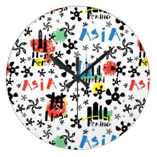 Asia | Symbols Pattern Large Clock